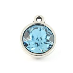 Bedel met Swarovski puntsteen aquamarine blue
