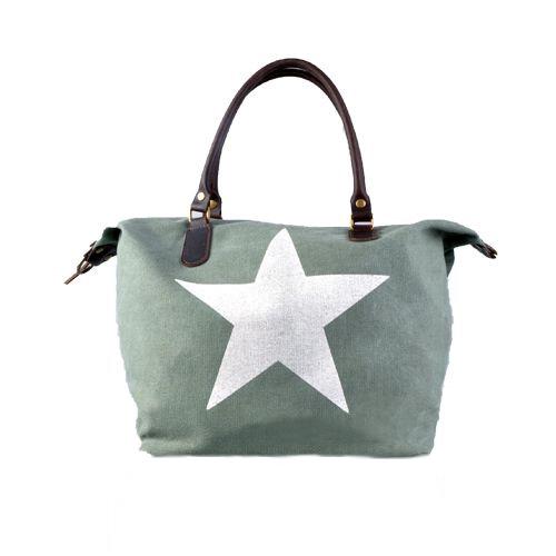 Canvas Schoudertas Met Ster : Tas met ster groen gewoon sieraden