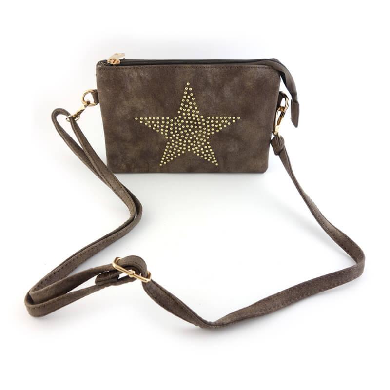 Tasje bruin met ster met schouderband